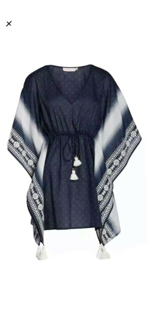 Tory Burch Ravena Shibori Stripe Cover-Up Caftan Blue XS/ S 2-6. NWT MSRP $328