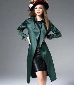 Silke Slim Trench Fit Bælte Satin Længde Kvinders G257 Outwear Overcoat Knæ Blend 56w1Zq
