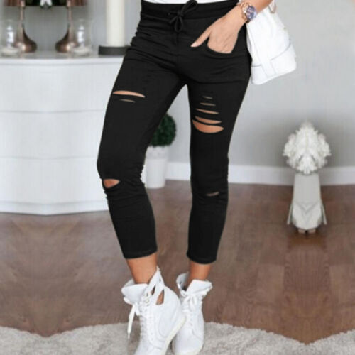 Women Slim Mini Pencil Pants Leggings Stretch Tight Trousers High Waist Casual