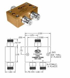 MECA-H2N-0-900-2-Way-Divider-0-8-1-0-GHz-80-Watts-Type-N-Connectors