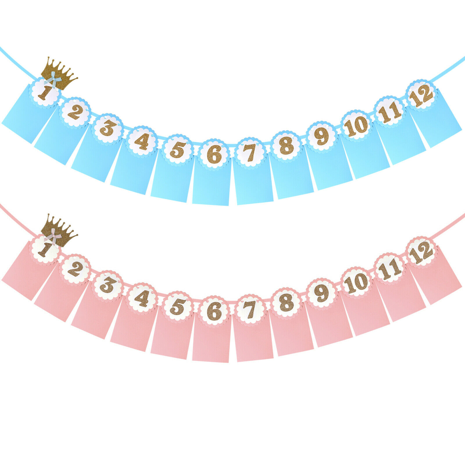 First Year Birthday Party Baby Girl Boy 12 Months Photo Frame Banner 12pcs Set For Sale Online Ebay