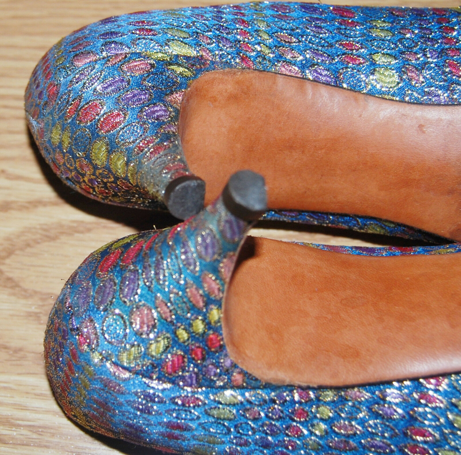 Vintage Peacock Blau Gold lila lila lila coral LAME evening schuhe leather PUMPS heels 7 B 0f834a