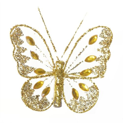 Weddings Clip On Butterflies Small Glitter Diamante Nylon Many Colours Floral