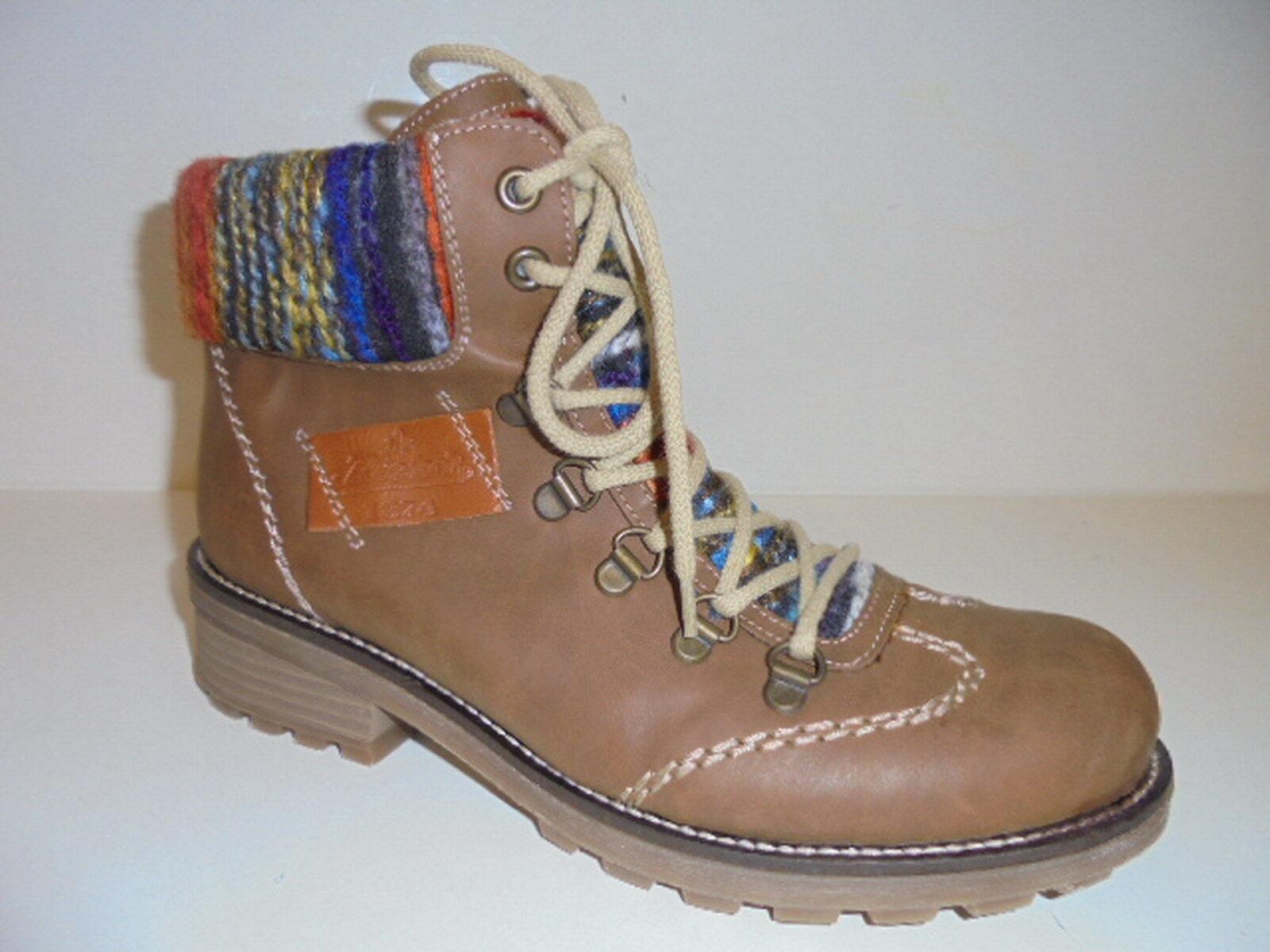 Z0443 Rieker Damenschuhe Stiefelette Boots braun Warmfutter Lammwolle Gr. 41