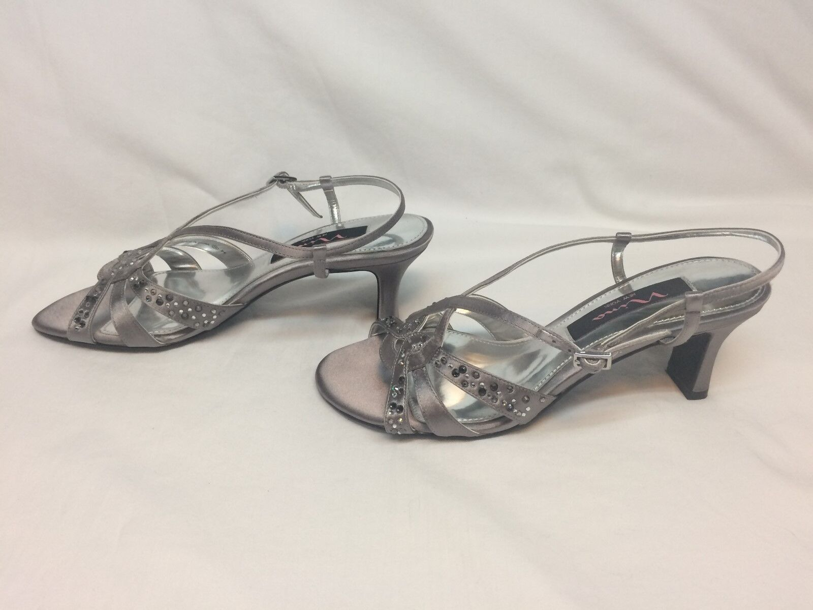 Nina Golby Women Open Toe Canvas Silver Sandals Size 6.5M US B