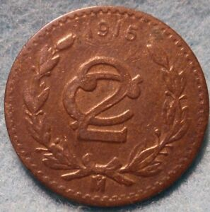 Scarce-1915-Fine-Mexico-2-Centavos-Zapata-Issue-Mexican-Revolution-KM-420