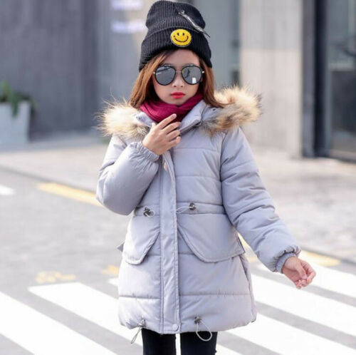 6478 New Girls Padded Coat Kids Child Warm Hooded Fur Collar Cotton Down Jackets