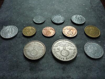 5 NAZI MONEY 1935-1940 SET 5 COINS FROM THIRD REICH 1 50 REICHSPFENNIG 10 2