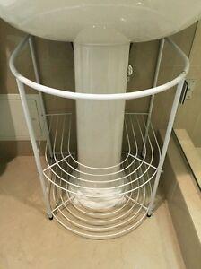 Image Is Loading Bathroom Storage Rack White Under Pedestal Sink Towels