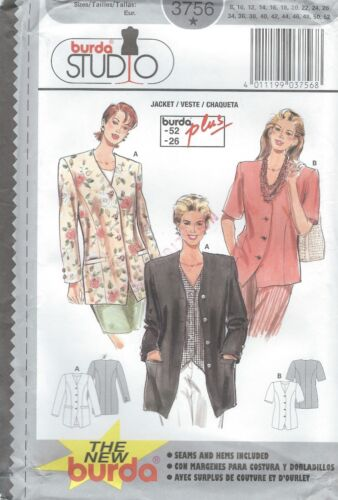 burda 3756  Misses/' Jackets 8 to 26 *Extremely Rare*    Sewing Pattern