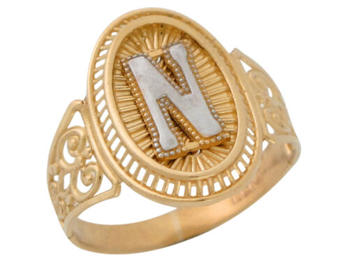 Details about  /10k or 14k Two Tone Gold Letter N Filigree Band Radiant Ladies Oval Initial Ring