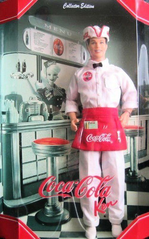 Coca Cola Soda Jerk Ken Barbie Collector Muñeca fuente Nuevo Raro Nuevo en caja en caja original