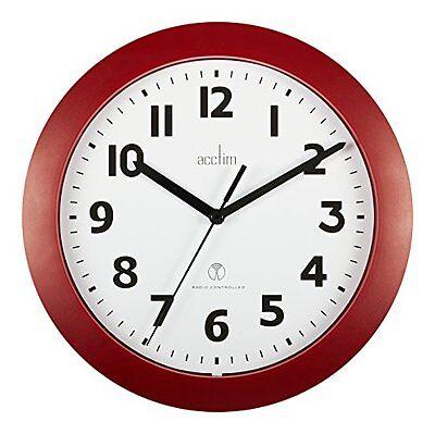 Acctim 74314 Parona, Rosso Radio Controllato Orologio Da Parete, Diametro 23cm- Con Il Miglior Servizio