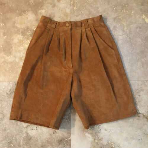 Vintage 80s 90s Suede Leather Shorts Honey Brown B