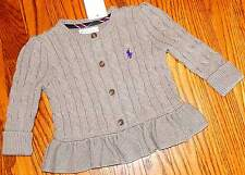 POLO RALPH LAUREN BABY/KIDS GIRLS BRAND NEW GRAY DRESS SWEATER JACKET Sz 9M, NWT