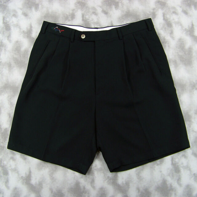 Greg Norman Collection Men's Pleated Golf Shorts Size 34 (35x8) Black Polyester