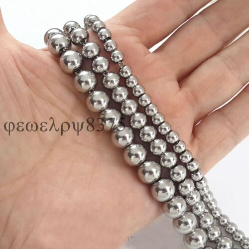 "6//8//10mm Stainless Steel Round Ball Beads Chain Necklace Handmade Jewelry18/""-36/"""