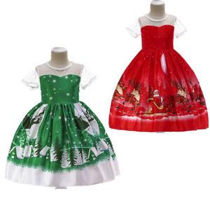 Girl Christmas Lace Princess Dress Toddler Kids Baby Santa Print Outfits Clothes