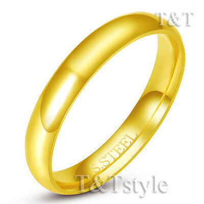 TT 14K GP S.Steel Wedding Band Ring For Couple A Pair 2mm-4mm Width Engravable