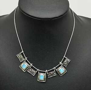 Pretty-Vintage-Sterling-Silver-amp-Murano-Opal-Glass-Necklace-Arezzo-Italy