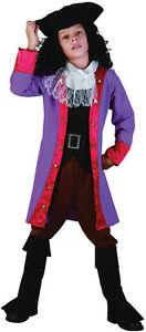 Ninos-CHICOS-purpura-Jack-Sparrow-Capitan-Pirata-Hook-Fancy-Dress-Costume
