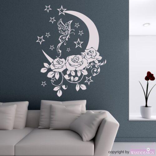 WANDTATTOO Rosen Dreams Schmetterling Mond Ranke Wandaufkleber Wandsticker