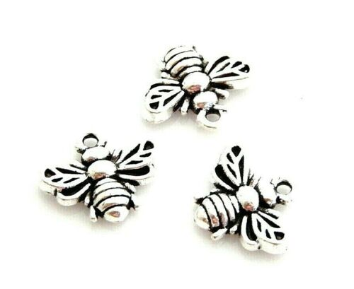20 Antiqued Tibetan Silver 13x11mm Bumble Bee Honey Bead Drop Charms