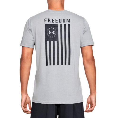 Under Armour UA Freedom Flag Logo Charged Cotton® Steel Heather Black T-Shirt