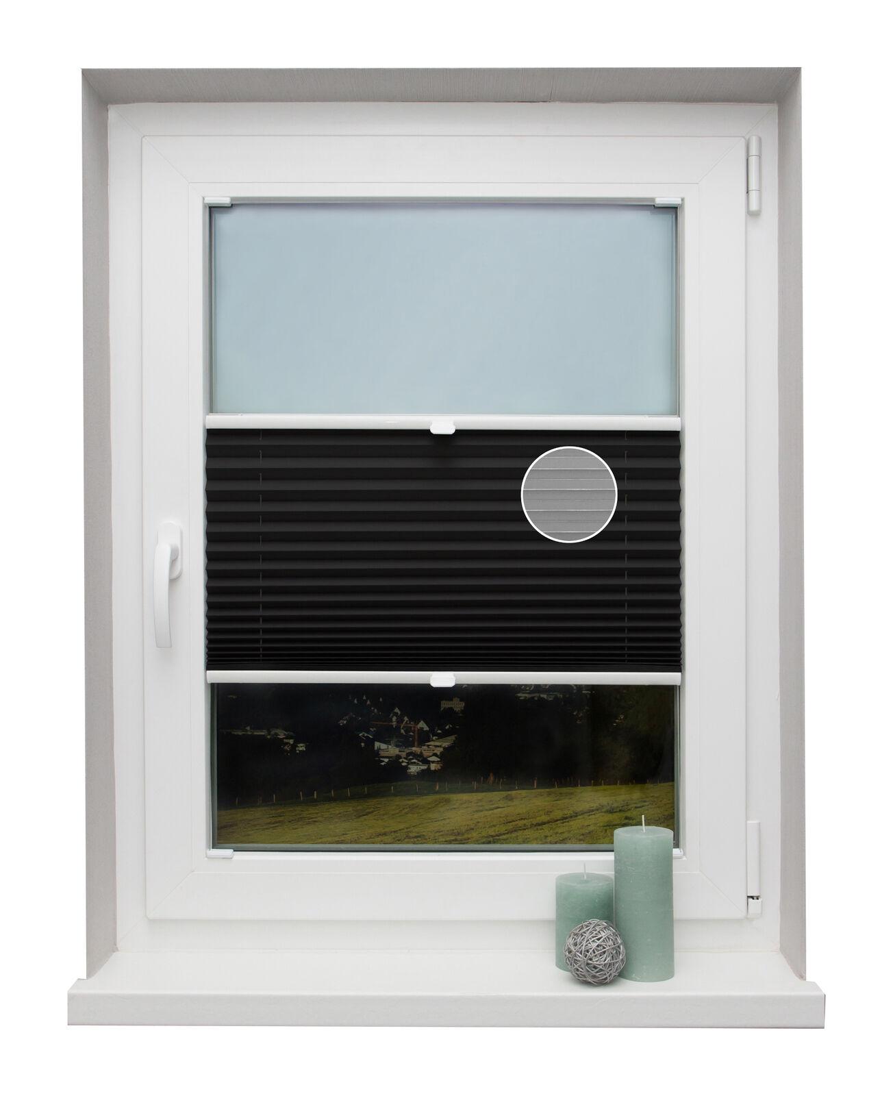 Preishit Thermo-plisado a medida negro para ventanas montaje en la barra de vidrio