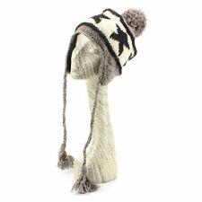 ada7aa525df Bobble Hat Earflap Beanie Fleece Lined Wool Knit Winter Warm Ear Flap Grey  Star