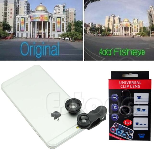 3in1 180° Wide Angle+Fish Eye+Macro Camera Photo Zoom Lens Kit For iPhone 6 5s 5