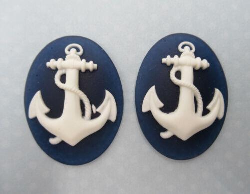 Anchor Cameos 40X30mm Cabochons White Anchor Bright Blue Nautical Pendants 6 pcs