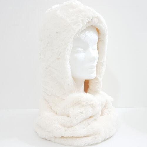 Cappuccio Scaldacollo cappello sciarpa ecopelliccia Bianco Nero ecc D0738 D0506