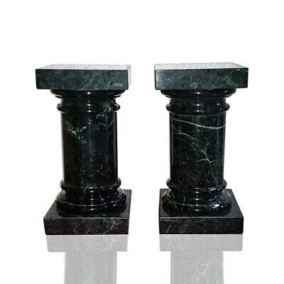 Coppia Colonne Fermalibro Marmo Verde Green Italian Marble Column Book H.17cm