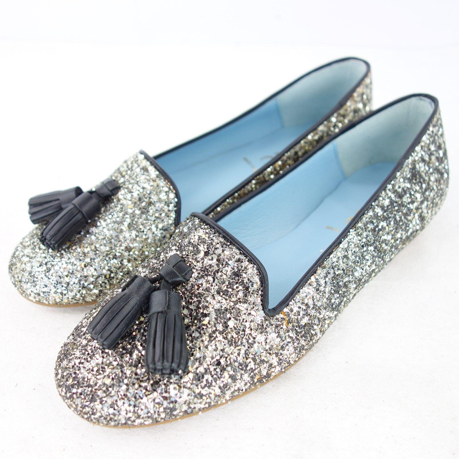 JUNIC Damen Loafer Ballerinas Schuhe Gr 37 Silber Glitzer Tassel NP 119 NEU