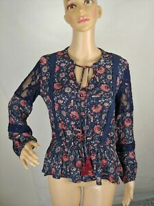 Knox-Rose-Women-s-Boho-Peasant-Top-Blue-Floral-Long-Sleeve-Sz-Small