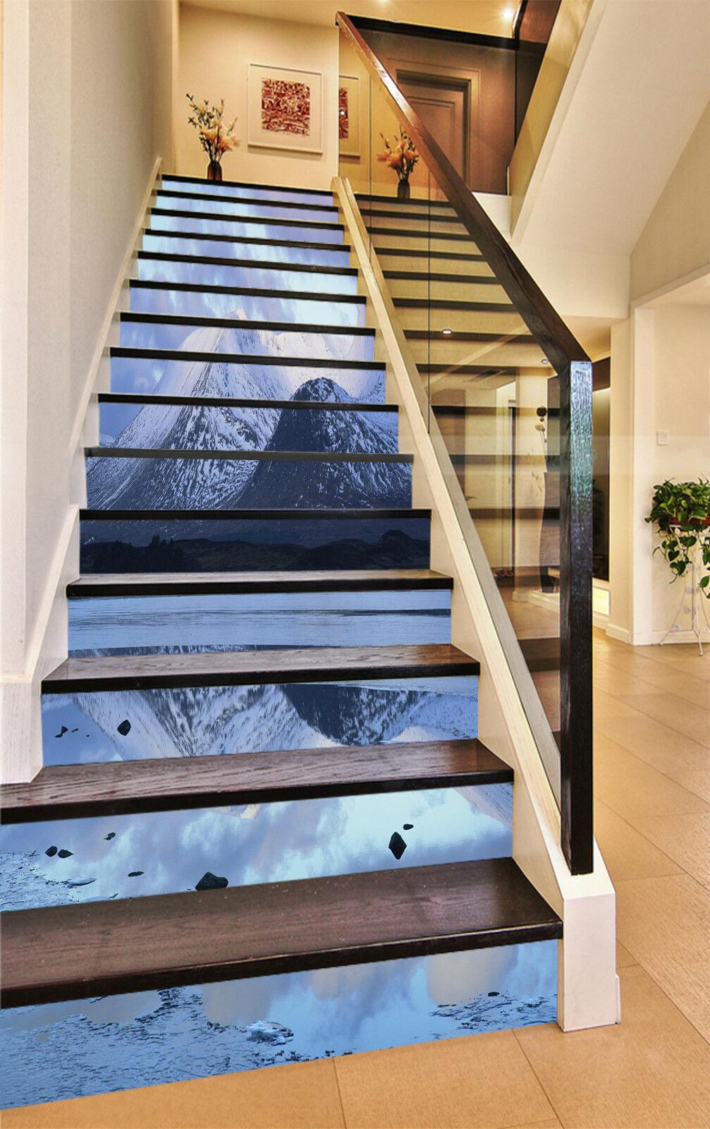 3D Schnee Berg 574 Stair Risers Dekoration Fototapete Vinyl Aufkleber Tapete DE