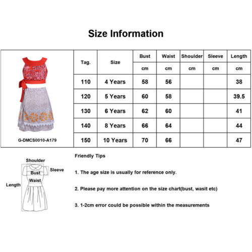 Child Moana Princess Costume Girls Kids Fancy Dress Crop Top and Skirt Outfit