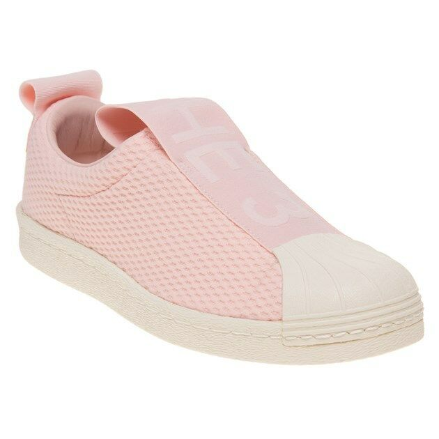 New WOMENS ADIDAS PINK SUPERSTAR SLIP ON NYLON Sneakers Court