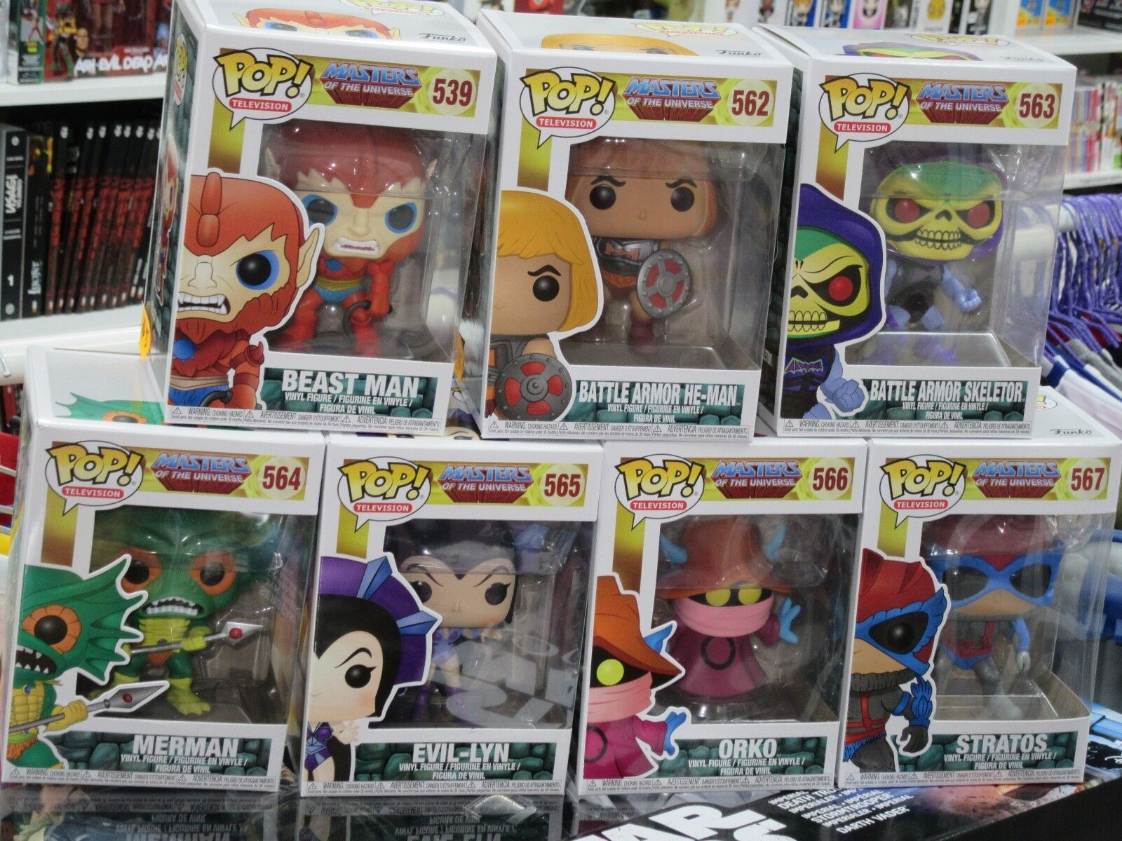 MASTERS OF THE UNIVERSE -  FUNKO POP  - FULL SET - 7 FIGURES      NEW    He-Man