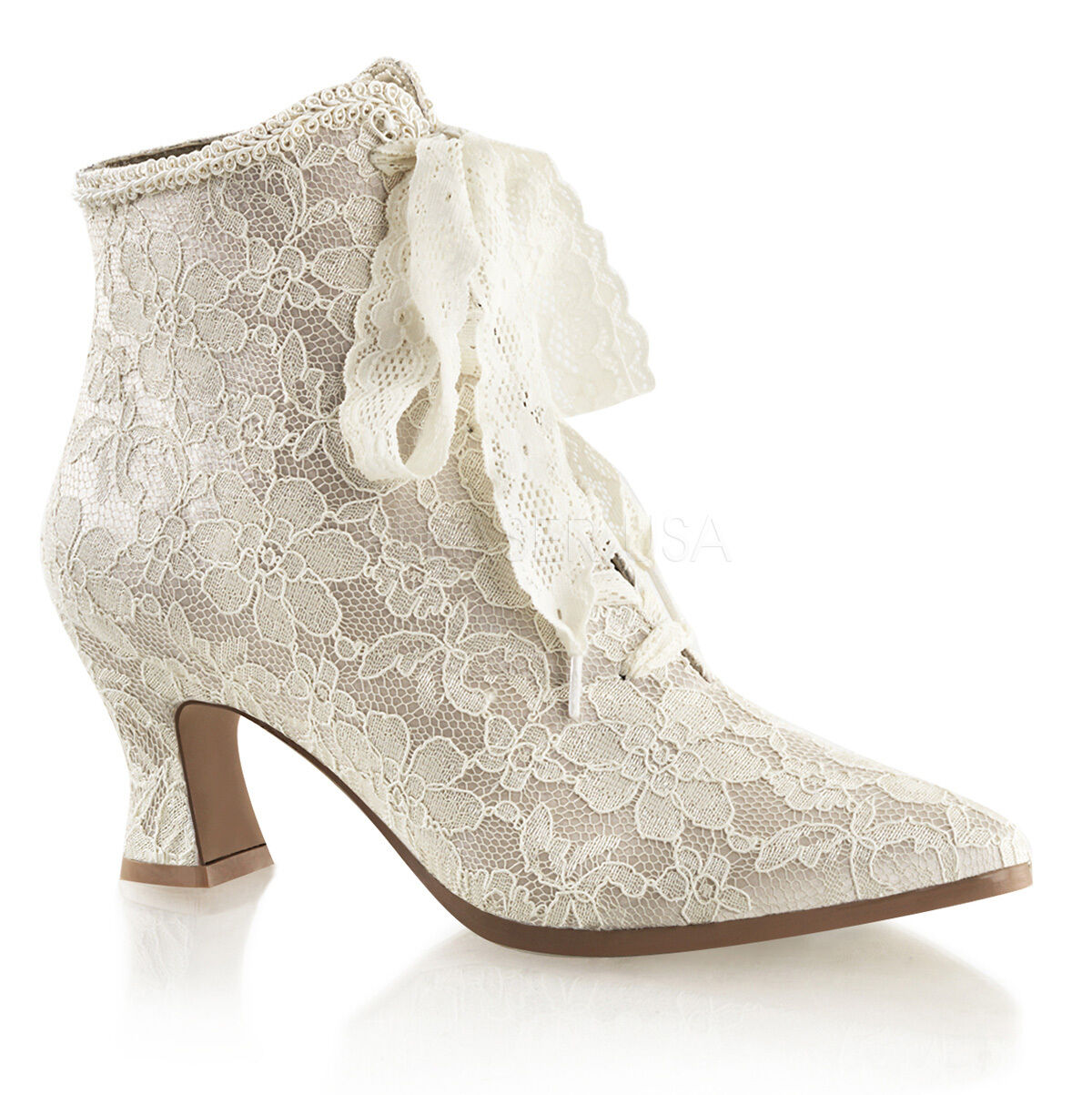 Cream Cream Cream Lace Up Vintage Victorian Wedding Bridal shoes Steampunk Boots Womans 2dfd34