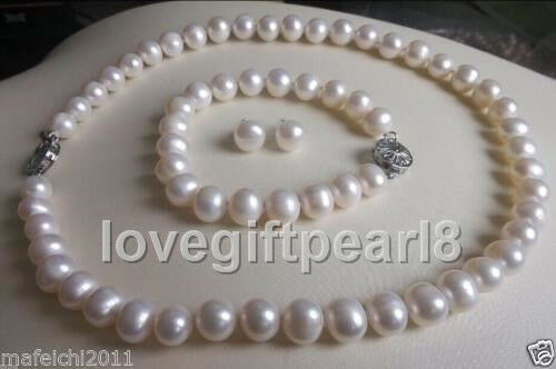 noblest 9-10MM White south sea natural Pearl Necklace Bracelet Earring Set