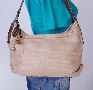 FOSSIL Med Tan Brown Straw Leather Shoulder Hobo Tote Satchel Purse Bag