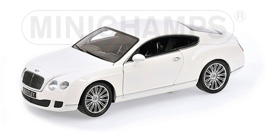 Minichamps 100 139621 BENTLEY CONTINENTAL GT pressofusione modello auto bianco 2008 1:18 TH