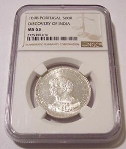 Portugal-Silver-1898-Discovery-of-India-500-Reis-MS63-NGC