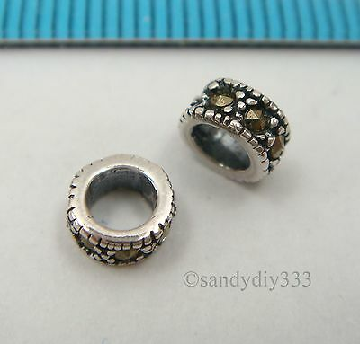 40x ANTIQUE STERLING SILVER MARCASITE STONE RONDELLE SPACER BEAD 5.4mm #2431H