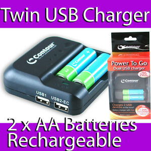 868f9006655 CONTOUR AA AAA BATTERY CHARGER 2 X AA 2 X USB MOBILE CHARGER IPHONE ...