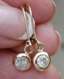 0-40-Ct-Round-Cut-Diamond-Dangle-Drop-Earrings-Solid-14K-Yellow-Gold-Over