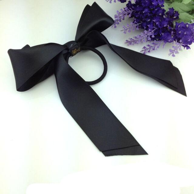 Fashion Women Lady Scrunchie Ponytail Holder Satin Ribbon Bow Hair Band Rope New
