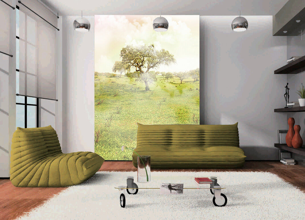 3D grassland green trees 232 Wall Paper Print Decal Wall Deco Indoor wall Mural